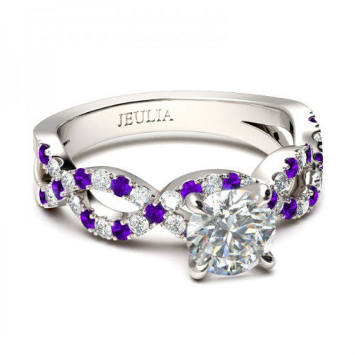 white and purple sapphire twist ring silver