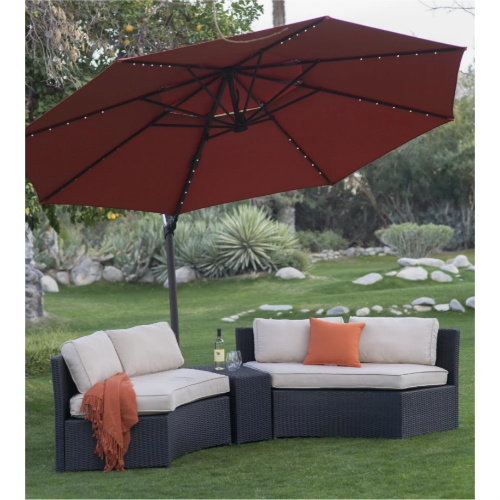 11-ft steel lighted offset patio umbrella with base