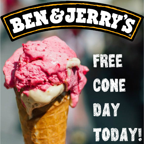 ben and jerrys free ice cream cone