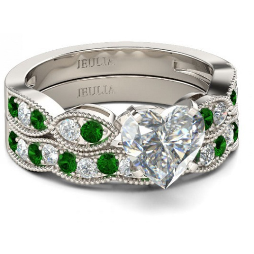 clearance emerald heart ring set