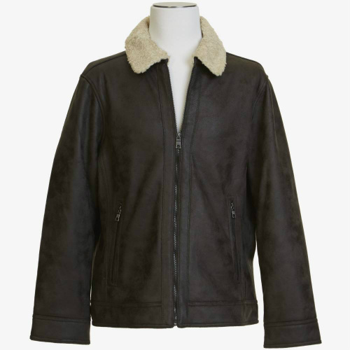 mens faux shearling bomber jacket clearance