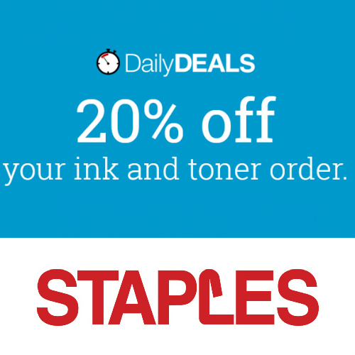 Staples : 20% off Ink and Toner