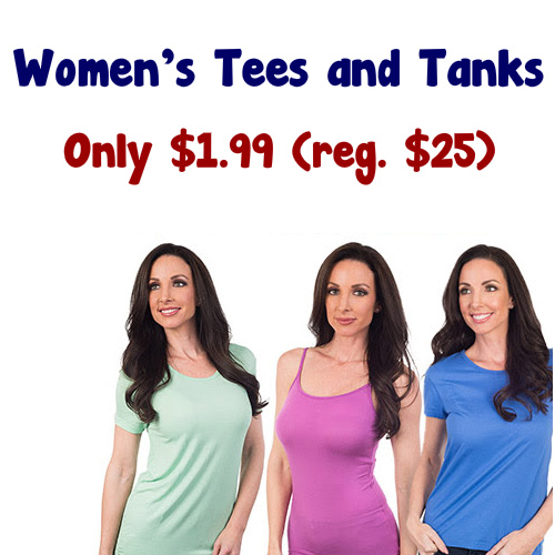 92% off Women's Tees and Tanks : $1.99