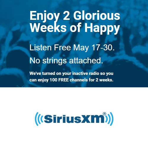 Sirius XM : 2 Weeks Free Listening