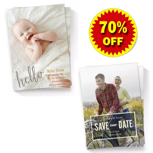 70 percent off photo cards