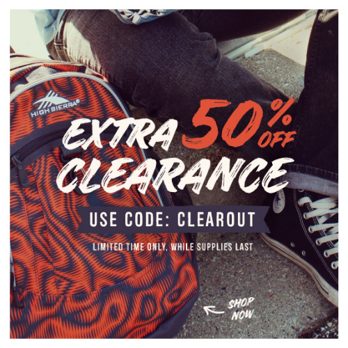 High Sierra : Extra 50% off + Free S/H on Clearance Backpacks & Lunch Kits