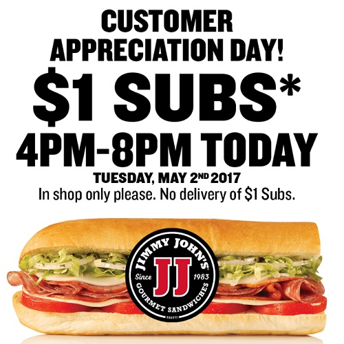 jimmy johns one dollar subs