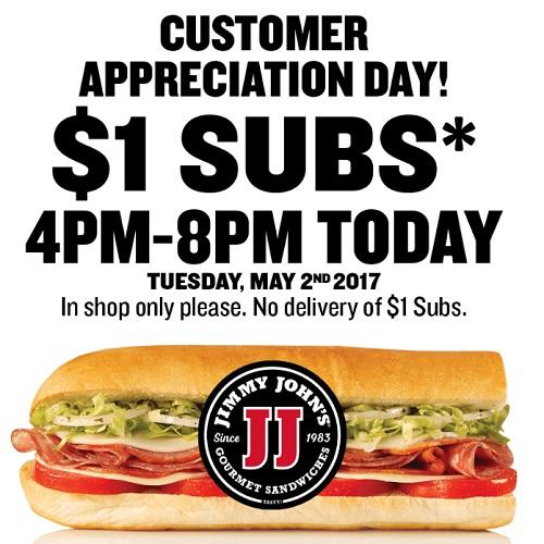 Jimmy Johns : $1 Sub Sandwiches
