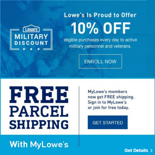 lowes military discount free shipping