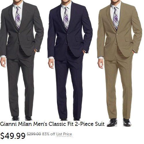 83% off Men's Gianni Milan 2-PC Suits : $49.99