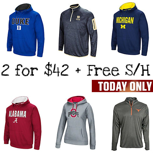 Up to 65% off NCAA Hoodies & 1/4 Zips : 2 for $42 + Free S/H