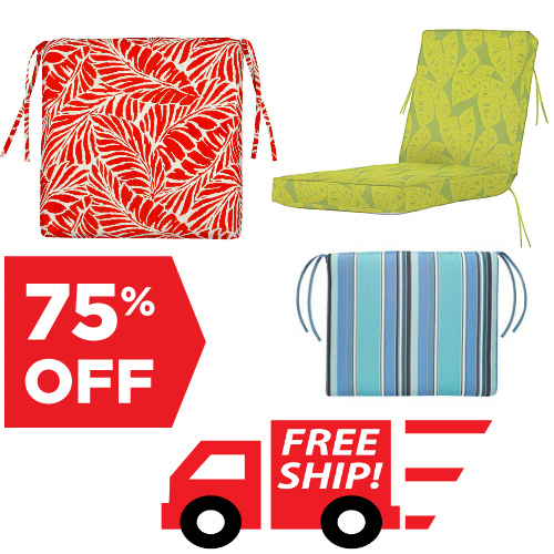 Outdoor Seat Cushions : 75% off + Free S/H