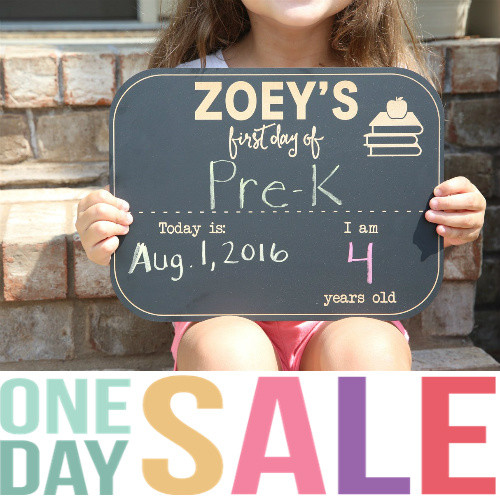 "70% off Personalized ""First Day of School"" Chalkboard : $9.99"