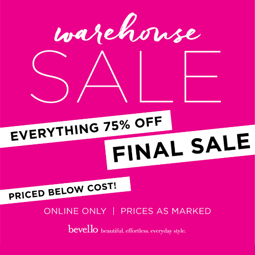 Bevello : 75% off Warehouse Sale + 15% off + Free S/H