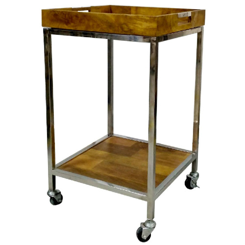 50% off Silver & Wood Bar Cart : $64.98 + Free S/H
