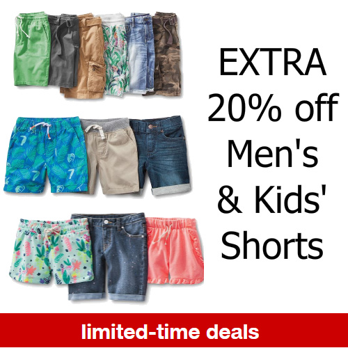 Target : Extra 20% off Men's and Kids' Shorts