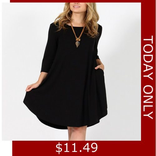 83% off Plus-Size 2-Pocket Swing Dresses : Only $11.49