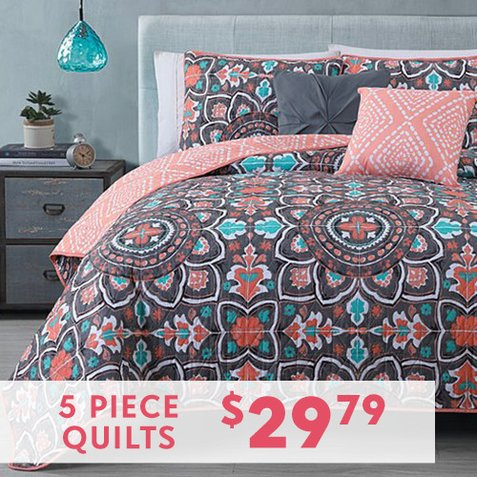 Up to 81% off 5-PC Quilt Sets : $29.79 any size