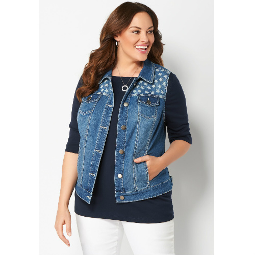 63% off Star Printed Denim Vest : $19.99 + Free S/H