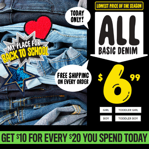 Up to 64% off Kids' Denim : Only $6.99 + Free S/H