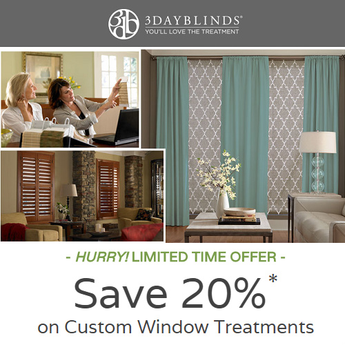 3 Day Blinds Coupon : 20% off Window Treatments