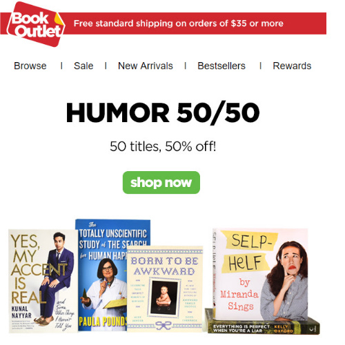 Book Outlet : Up to 94% off Humor Titles