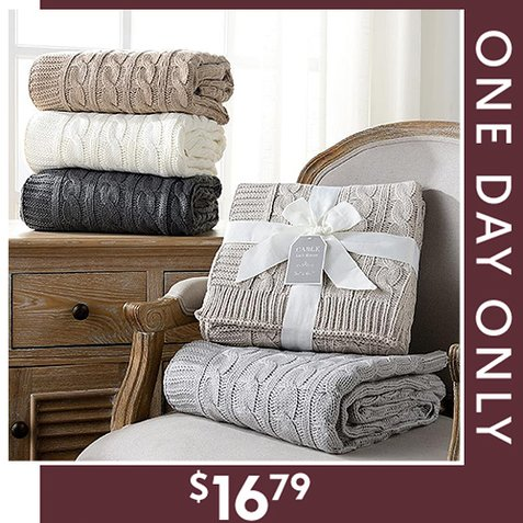 76% off Cable Knit Throws : Only $16.79