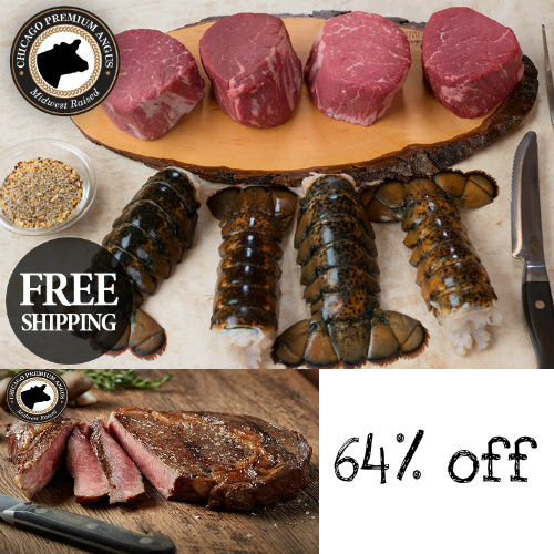 64% off Chicago Steak Company Surf & Turf + 4 Free Ribeyes : $159.95 + Free S/H