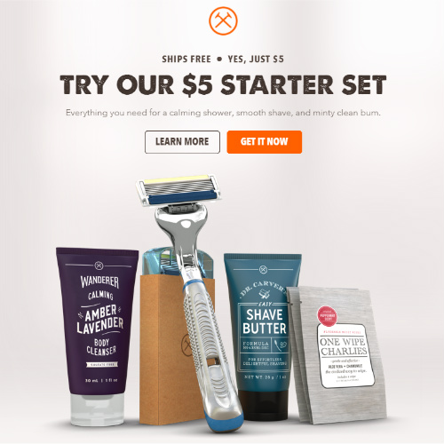 64% off Dollar Shave Club Starter Kit : Only $5 + Free S/H