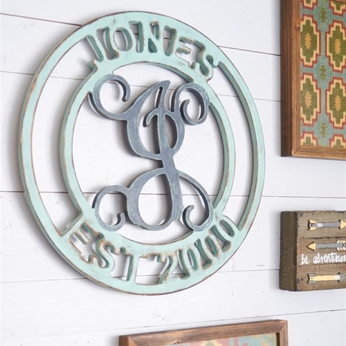 "49% off ""Established"" Family Monogram Wall Hanging : Only $17.99"