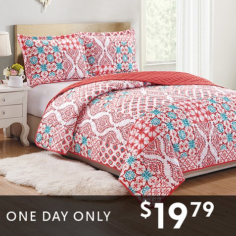 Up to 82% off 3-PC Quilt Sets : Only $19.79 any size