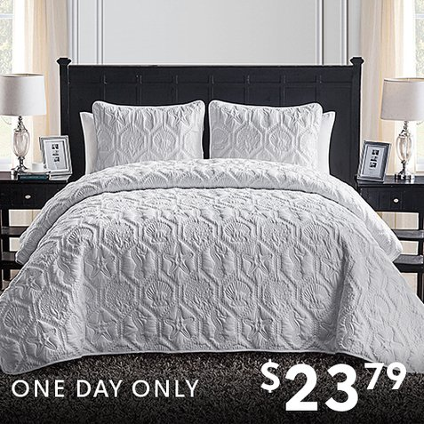 Up to 85% off 3-PC Quilt Sets : Only $23.79 any size