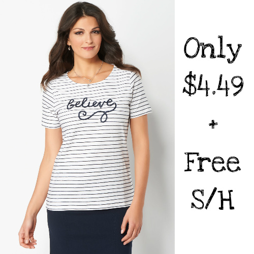 "87% off Women's Embroidered ""Believe"" Tee : Only $4.49 + Free S/H"