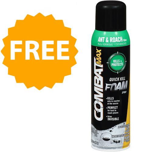 100% off Combat Max Ant & Roach Quick Kill Foam Spray : Free w/Rebate