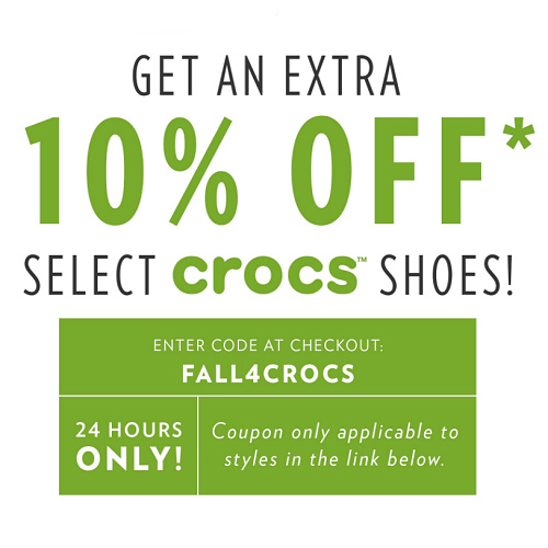 Crocs : Up to 71% off + Extra 10% off with coupon