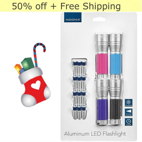 50% off 4-PK of Insignia LED Flashlights : $9.99 + Free S/H