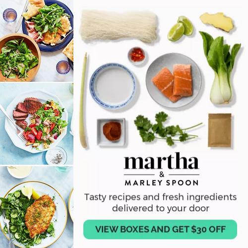 62% off 4 Dinners from Martha & Marley Spoon : Only $18 + Free S/H