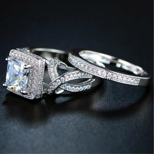 90% off Princess Cut CZ Ring Set : Only $8.99