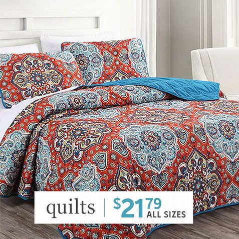 66% off 3-PC Quilt Sets : Only $21.79 any size