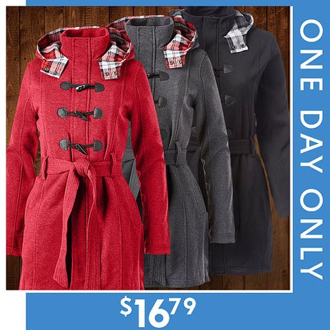 80% off Women's Toggle Fleece Trench Coat : Only $16.79