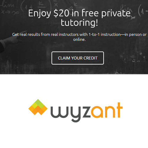 Wyzant Online Tutoring : $20 Coupon