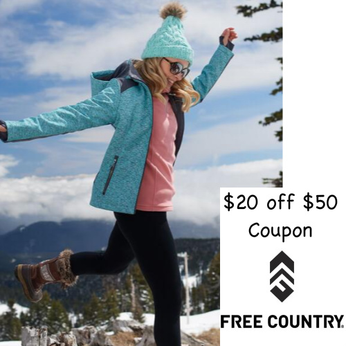 Free Country : $20 off $50 or more