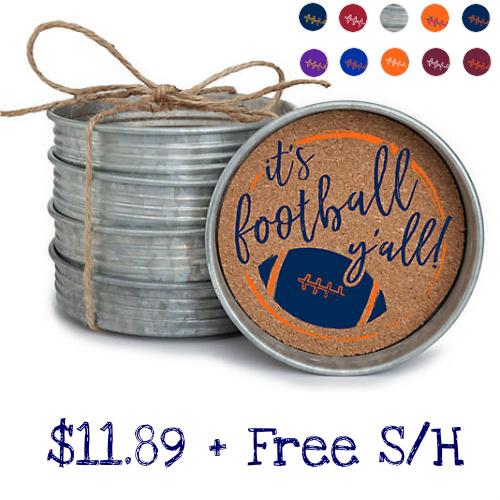 63% off Football Mason Jar Lid Coaster Set : $11.89 + Free S/H