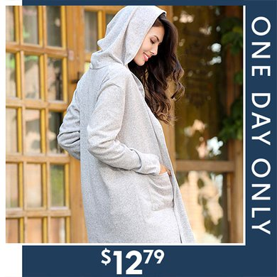 82% off Long Hooded Cardigans : Only $12.79