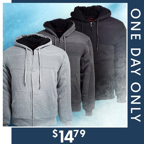 82% off Men's Sherpa-Lined Hoodie : Only $14.79