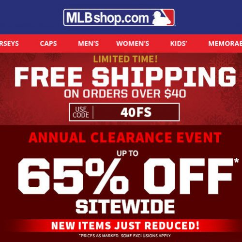 MLBShop : Up to 65% off + Free S/H on $40