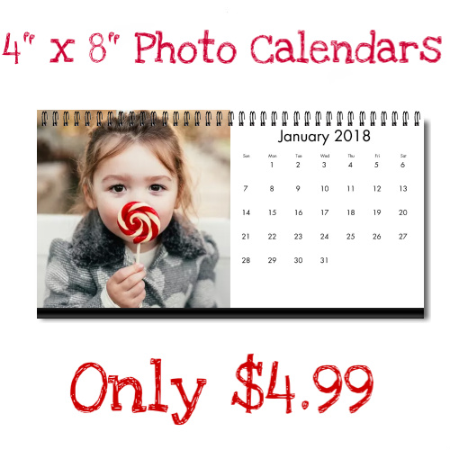 50% off 4″ x 8″ Personalized Photo Calendars : Only $4.99