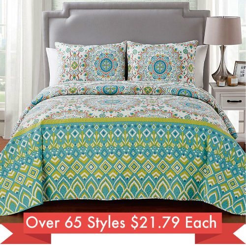 Up to 87% off 3-PC Quilt Sets : Only $21.79 any size