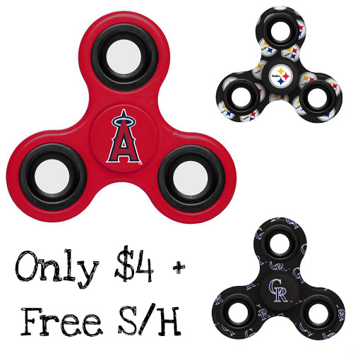 Up to 58% off Sports Team Fidget Spinners : $2.99 & $3.99 + Free S/H