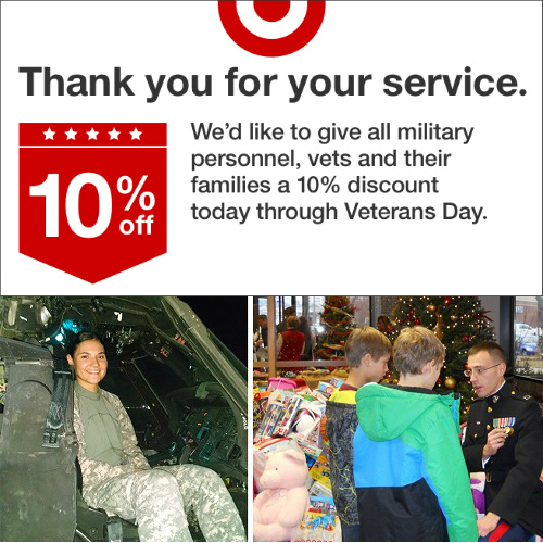 Target : 10% off Coupon for Military, Vets and their Families